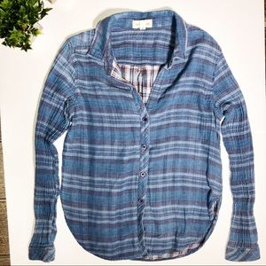 Cloth and Stone blue flannel button down shirt